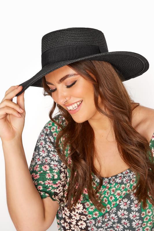 Großen Größen  Black Straw Wide Brim Boater Hat