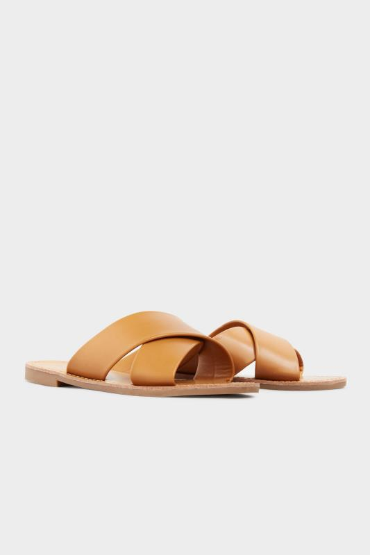LIMITED COLLECTION Tan Cross Strap Mules In Extra Wide Fit_B.jpg