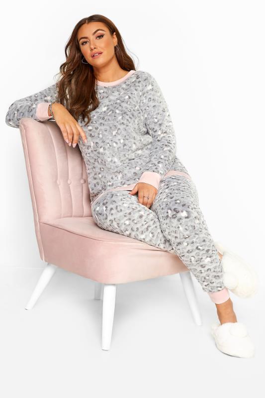 Grey Animal Print Fleece Lounge Set