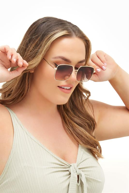 Plus Size  Gold Square Frame Sunglasses