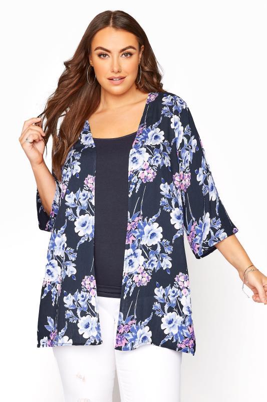 Plus Size  Navy Floral Crochet Back Kimono