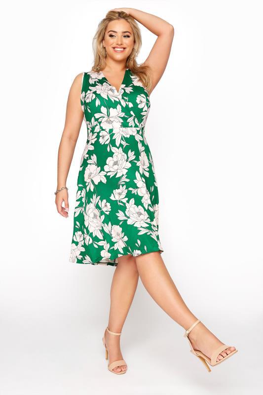 Plus Size  Green Floral Sleeveless Skater Midi Dress