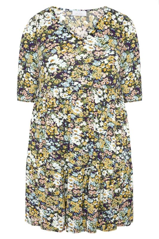 YOURS LONDON Multi Floral Print Tiered Dress_F.jpg