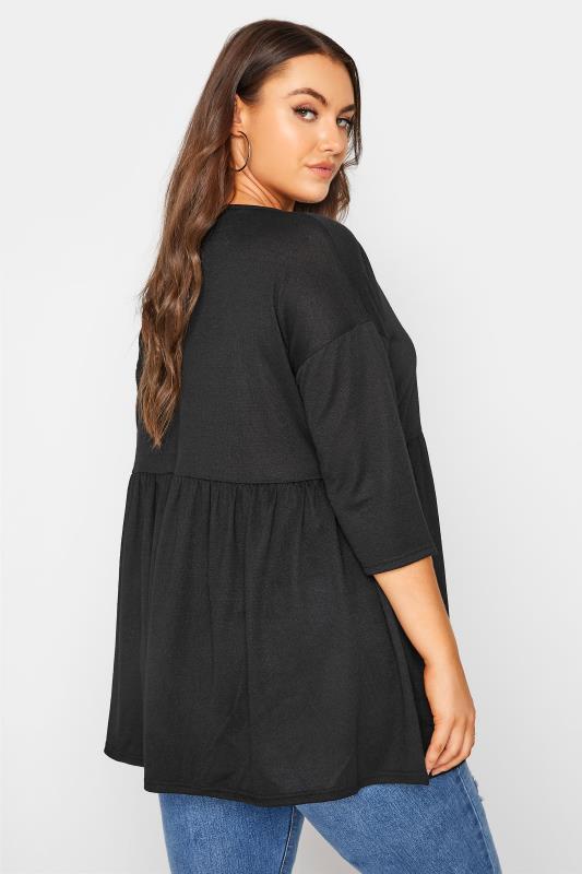 Black V-Neck Knitted Peplum Top_C.jpg