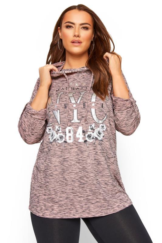 Plus Size Hoodies & Jackets Pink Marl Foil 'NYC' Slogan Hoodie