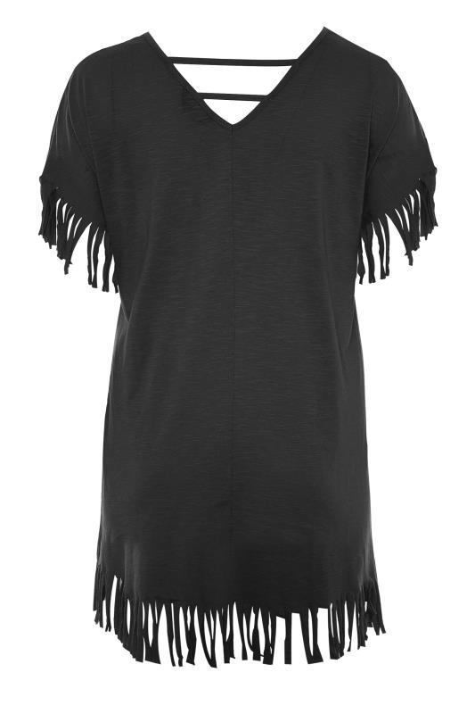 Black 'Weekend Mood' Slogan Fringe T-Shirt_BK.jpg