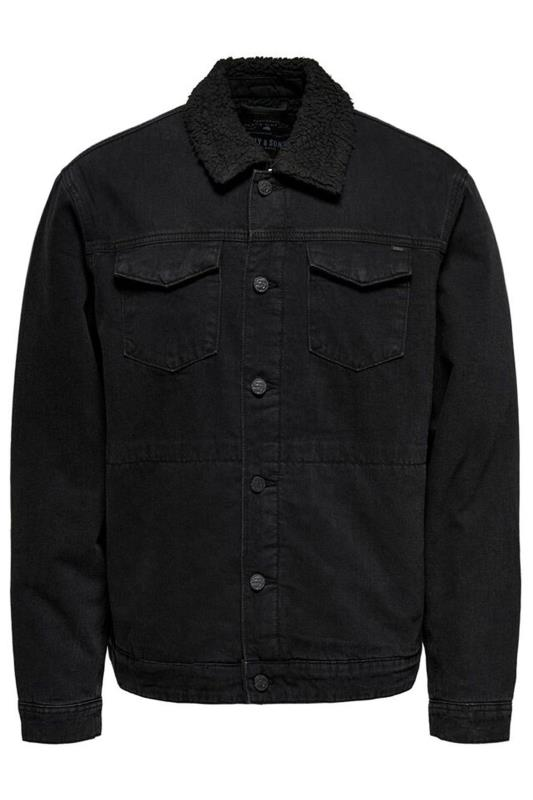 Plus Size  ONLY & SONS Black Teddy Lined Denim Jacket