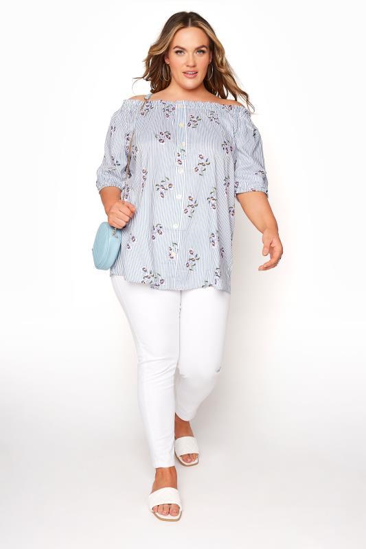 Blue Stripe Floral Button Bardot Top_B.jpg