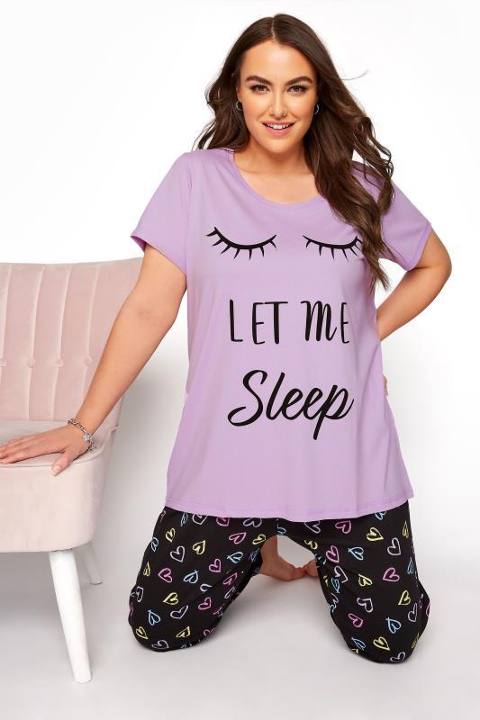 Plus Size  Purple 'Let Me Sleep' Dipped Back Pyjama Top