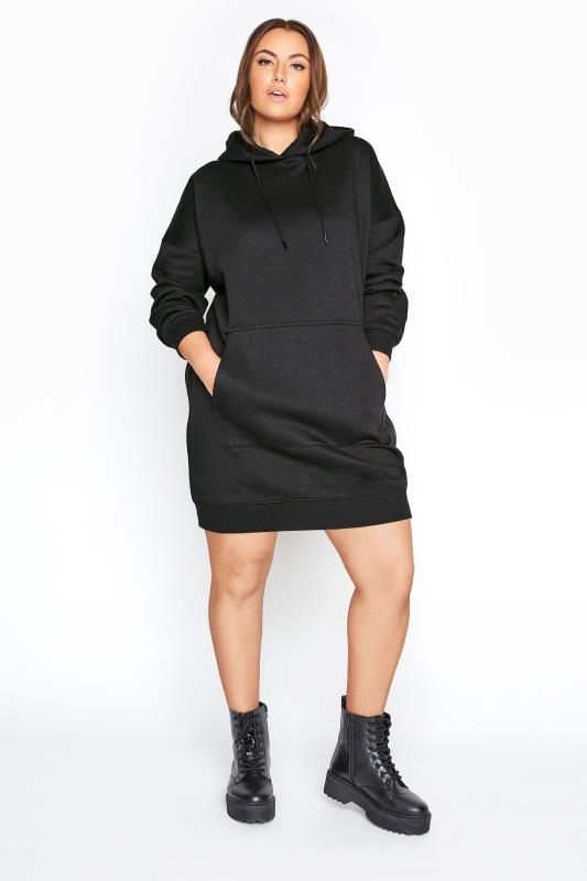LIMITED COLLECTION Black Cotton Jersey Longline Hoodie