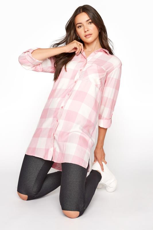 Tall  LTS Pink Check Boyfriend Shirt