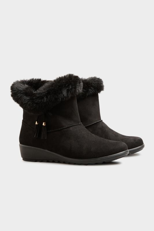 Black Bow Trim Wedge Boots in Extra Wide Fit_C.jpg