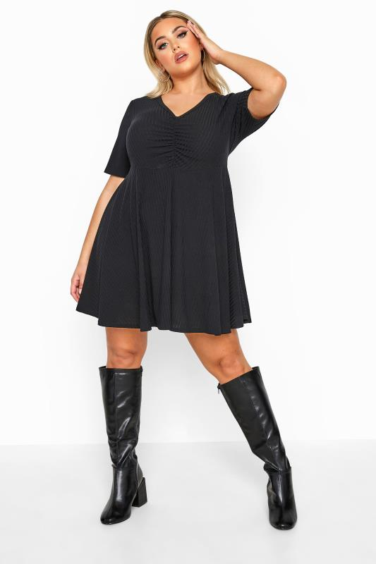 LIMITED COLLECTION Black Ribbed Ruched Skater Dress_A.jpg