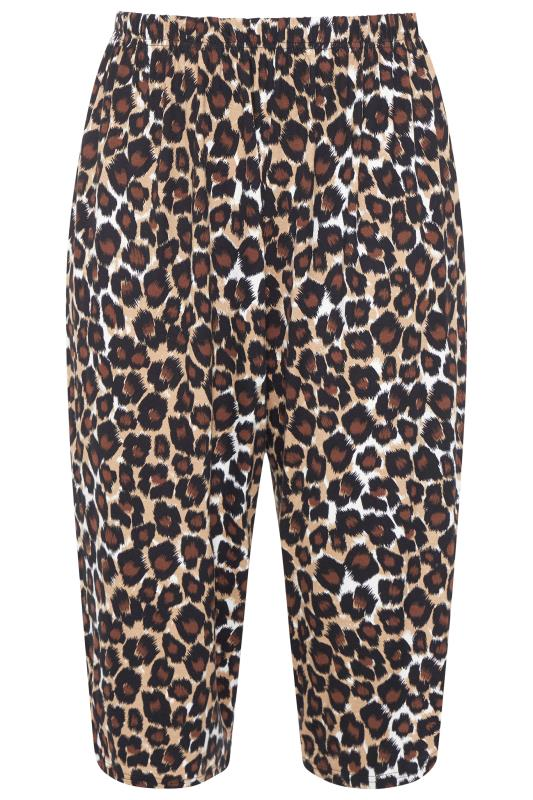 Plus Size  LIMITED COLLECTION Brown Leopard Cropped Lounge Trousers