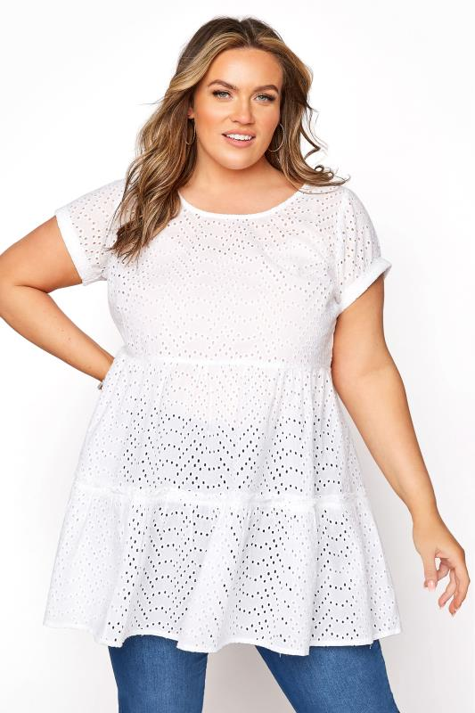 Plus Size  White Smock Tiered Tunic
