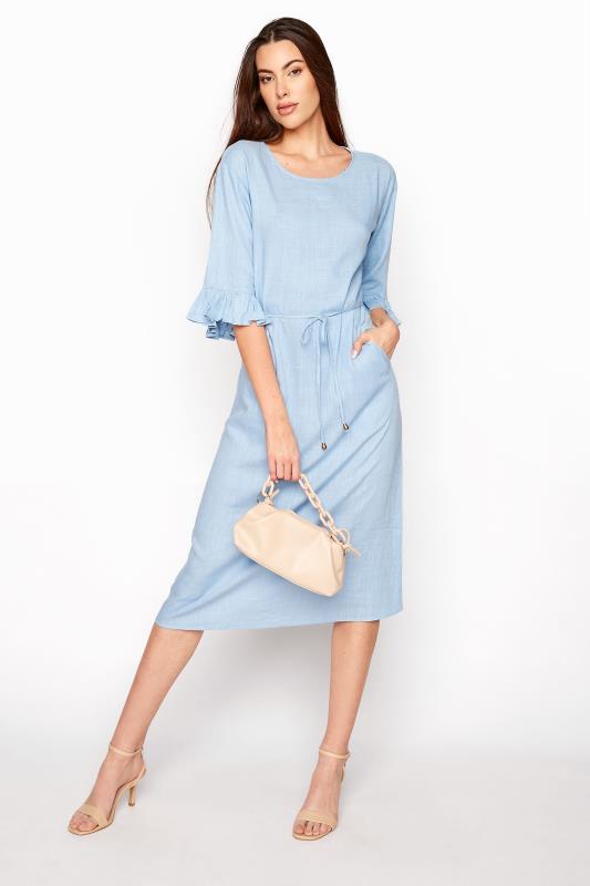 LTS Blue Frill Sleeve Midi Dress_B.jpg