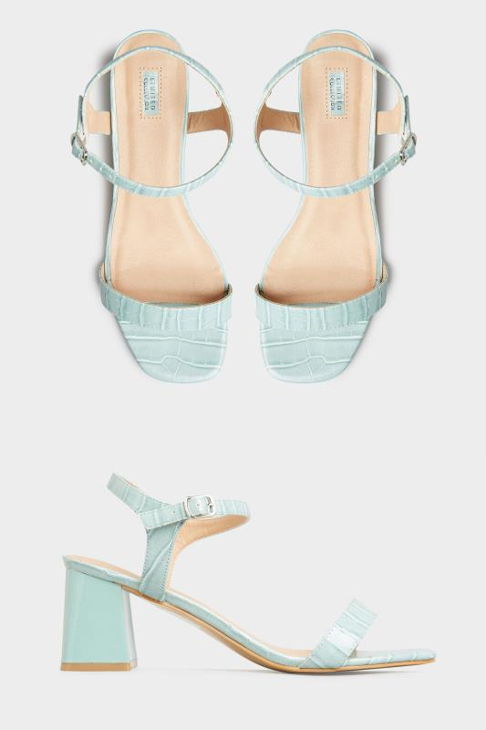 LIMITED COLLECTION Mint Green Block Heel Croc Sandals In Extra Wide Fit_split.jpg