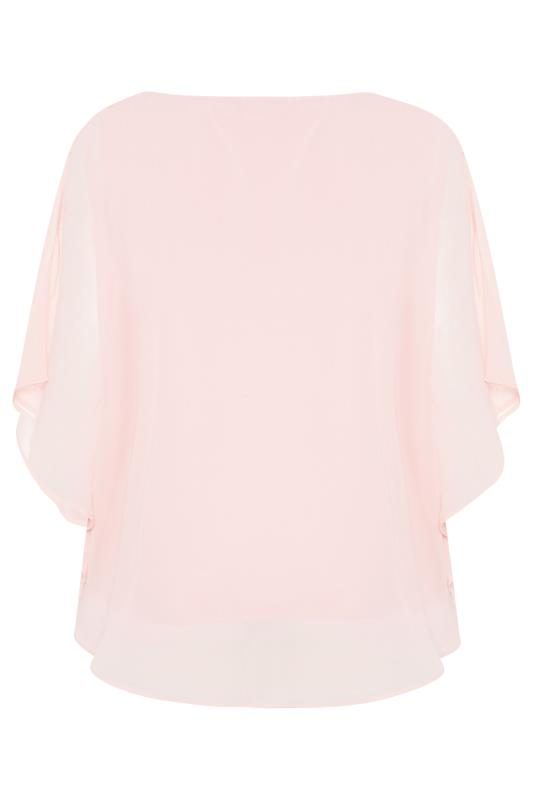 YOURS LONDON Pale Pink Diamante Cape Top_BK.jpg