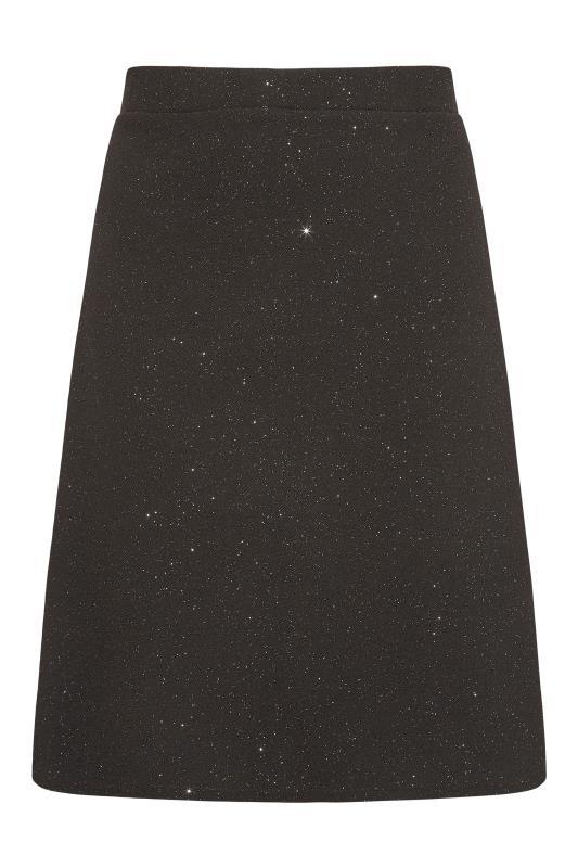 Plus Size  YOURS LONDON Black Glitter Skater Skirt