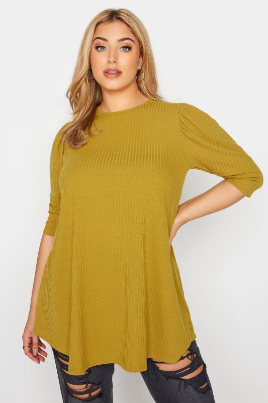 LIMITED COLLECTION Mustard Yellow Puff Sleeve Ribbed Top_A.jpg