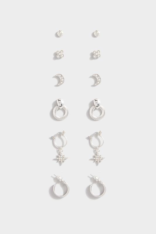 6 PACK Mixed Silver Hoop & Stud Earrings Set