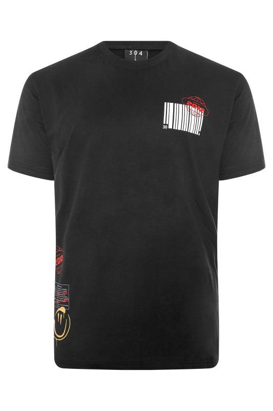 Großen Größen  304 CLOTHING Black Retro Graphic Barcode T-Shirt