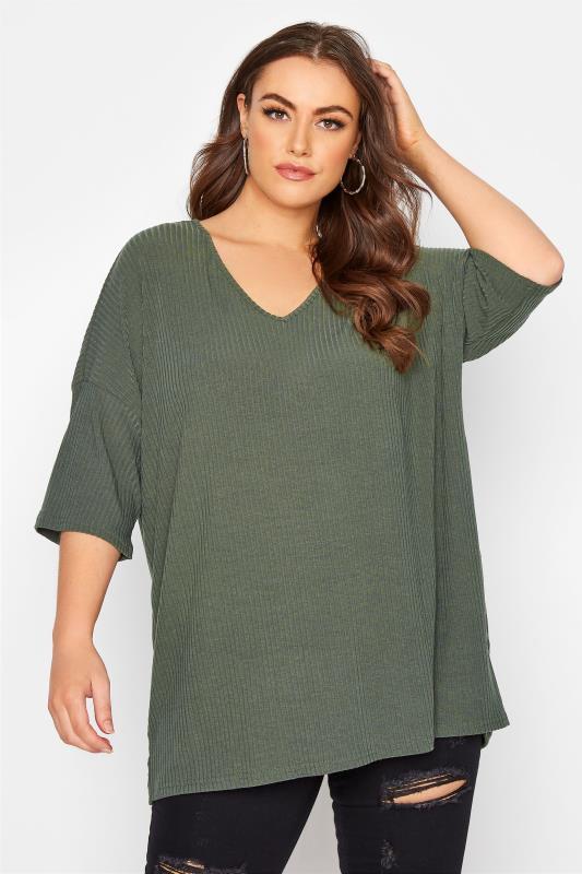 Plus Size  Khaki Soft Rib V-Neck Top