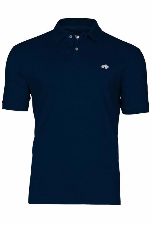 RAGING BULL Navy Signature Pique Polo Shirt_f.jpg