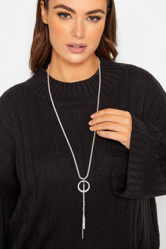 Tallas Grandes Silver Tone Diamante Tassel Necklace