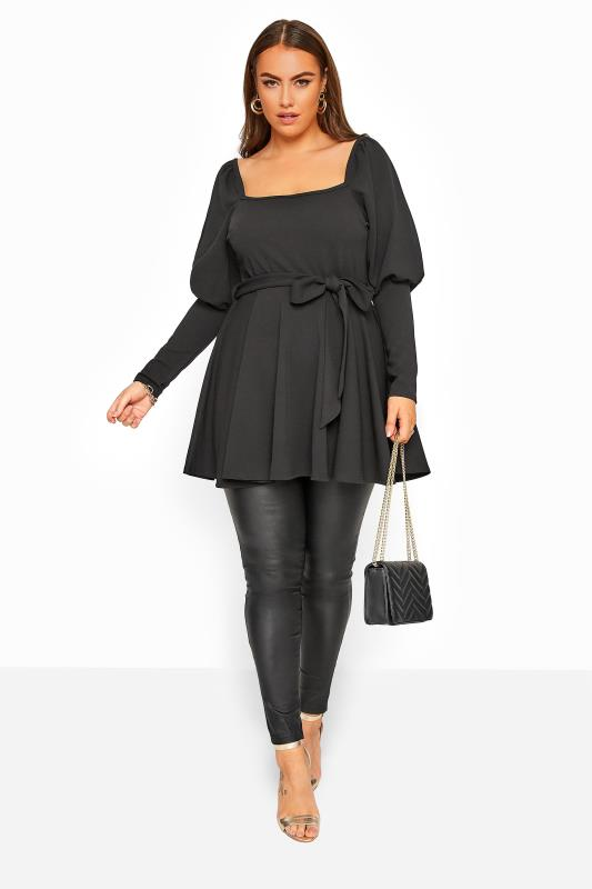 YOURS LONDON Black Square Neck Belted Peplum Top
