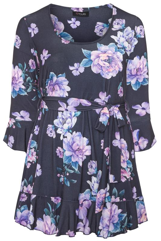 YOURS LONDON Navy Floral Frill Belted Top_F.jpg