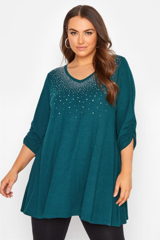 Plus Size  Teal Diamante Embellished Soft Touch Top