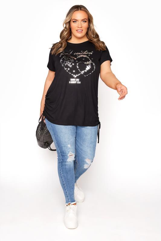 Black 'Good Emotion' Foil Print T-Shirt