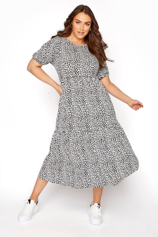 Plus Size  White Dalmatian Print Puff Sleeve Midaxi Dress