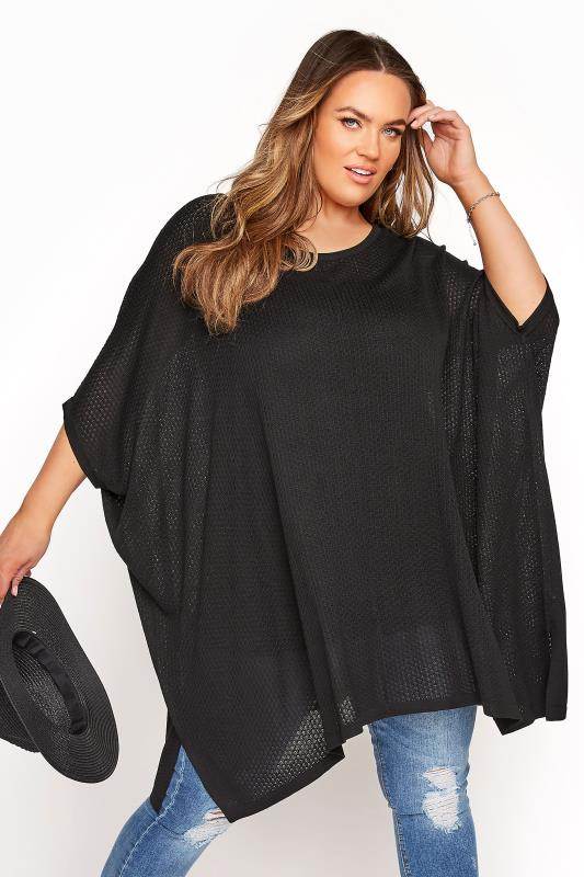 Plus Size  Black Oversized Boxy Jumper