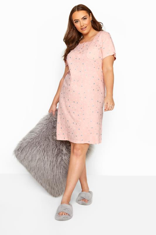 Plus Size Nightdresses & Chemises Pink Heart Print Nightdress