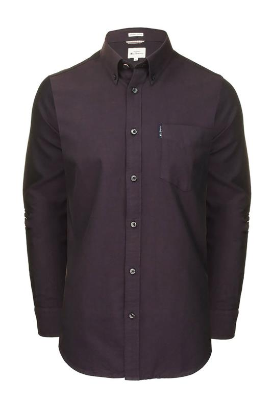 Plus Size  BEN SHERMAN Dark Purple Signature Long Sleeve Oxford Shirt