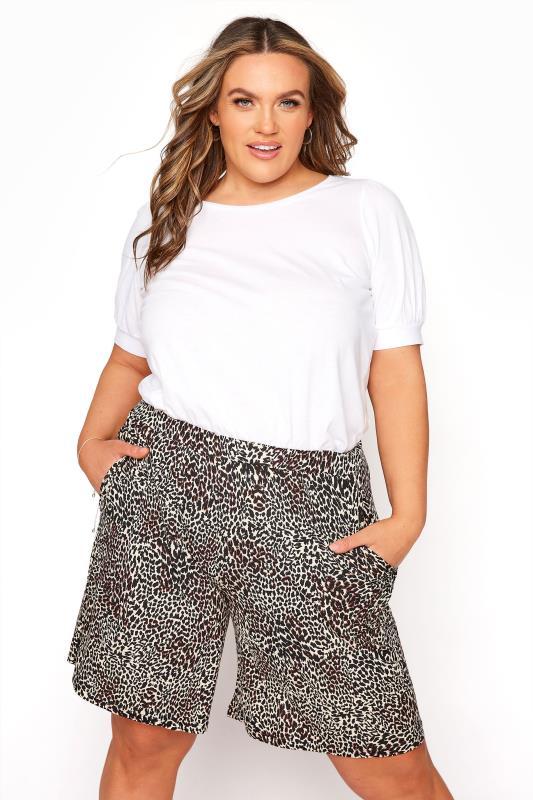 Brown Animal Print Jersey Shorts_A.jpg