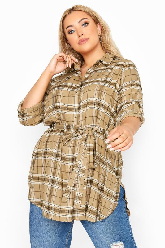 Plus Size  LIMITED COLLECTION Beige Belted Check Shirt