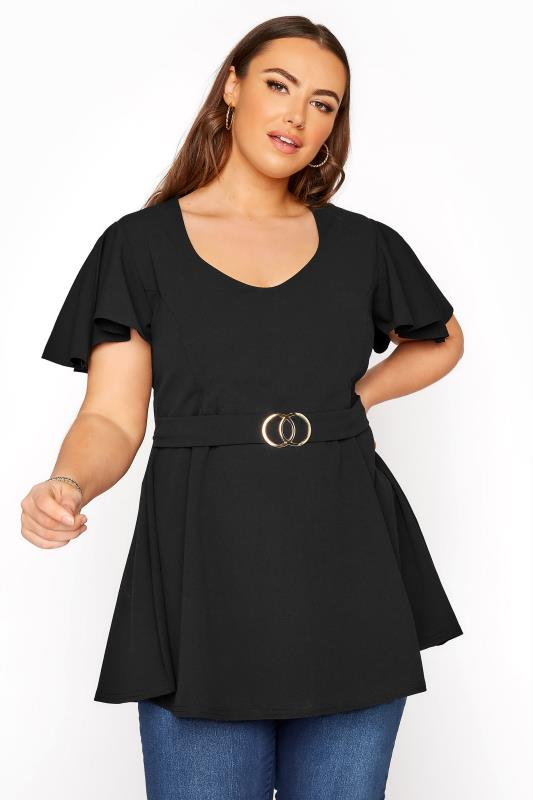 Plus Size  YOURS LONDON Black Belted Peplum Top