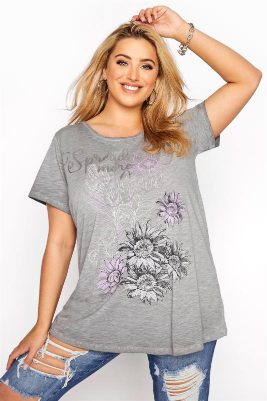 Plus Size  Grey 'Spread More Love' Graphic T-Shirt