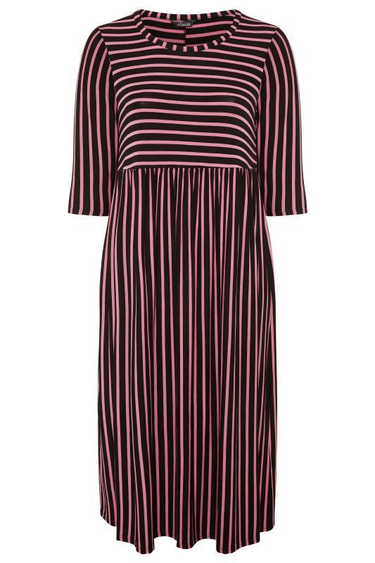LIMITED COLLECTION Black & Pink Stripe Midaxi Dress_F.jpg