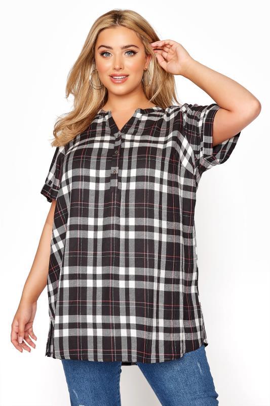 Plus Size  Black Grown On Sleeve Check Shirt