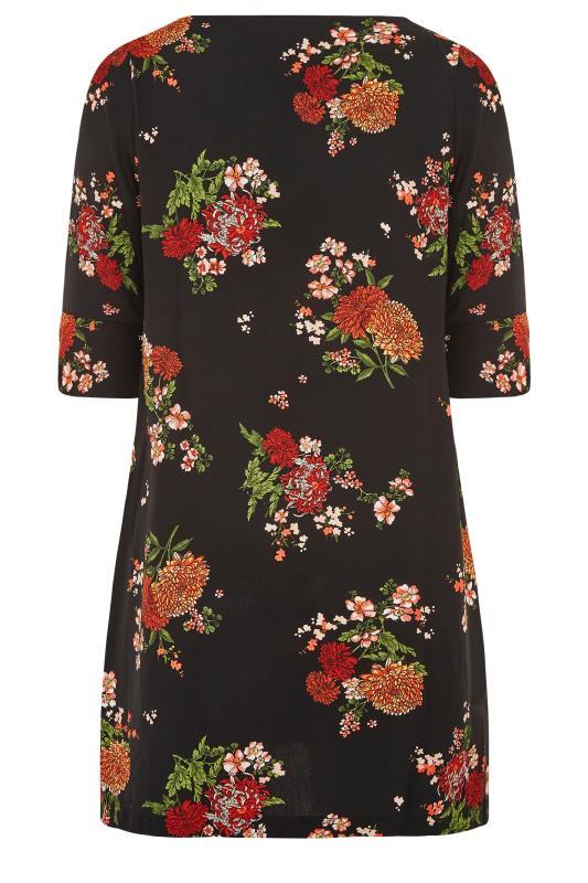 Black Oriental Floral Print V-Neck Shift Dress_BK.jpg