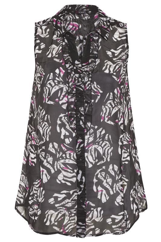 Black and White Floral Print Frill Front Sleeveless Shirt_F.jpg