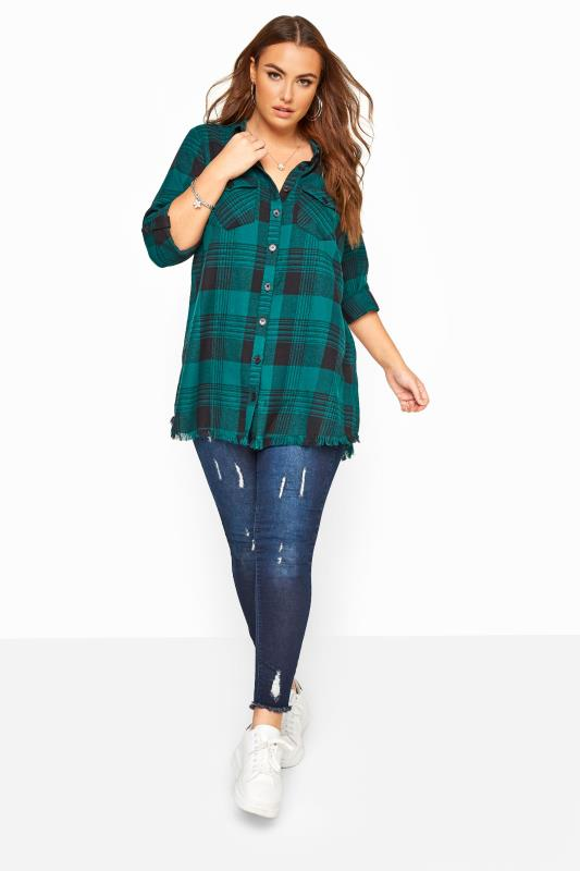 Teal Green Check Frayed Hem Shirt