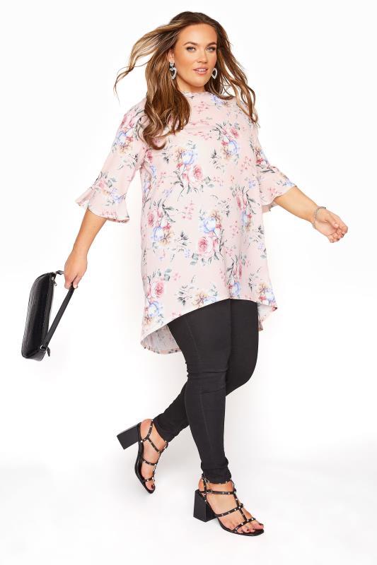 YOURS LONDON Pink Floral Flute Sleeve Tunic