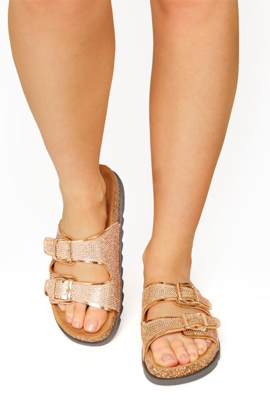 Plus Size  Rose Gold Sparkle Footbed Sandal In Wide Fit