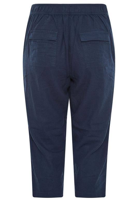 Navy Cropped Linen Mix Trousers_BK.jpg
