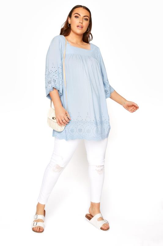 Pale Blue Milkmaid Broderie Anglaise Top